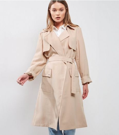Tall Shell Pink D Ring Belted Trench Coat | New Look