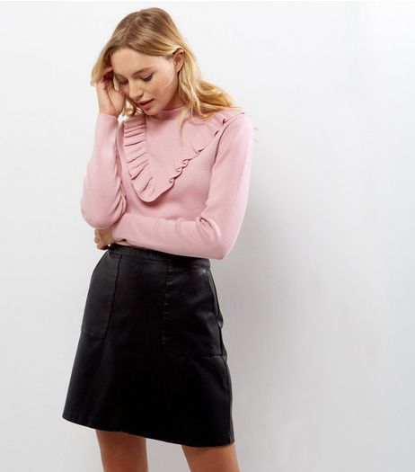 Petite Shell Pink Ribbed Frill Trim Jumper | New Look
