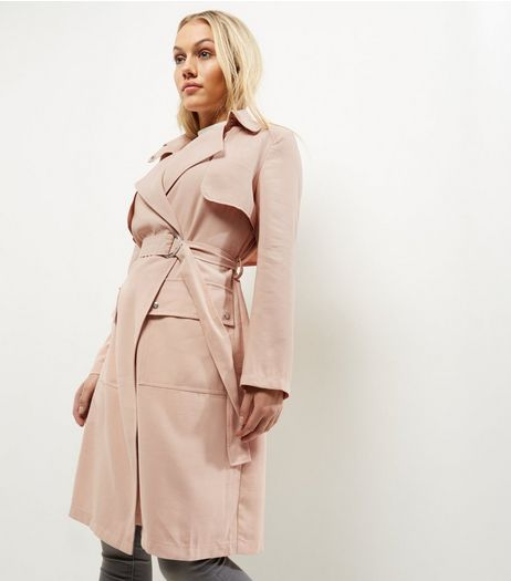 Petite Shell Pink D Ring Belted Trench Coat | New Look