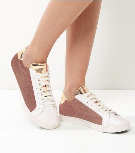 Pink Velvet And Metallic Panel Trainers | New Look