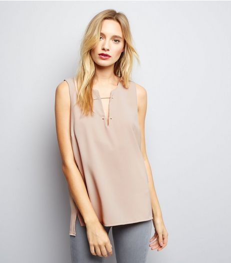 Shell Pink Bar Front Sleeveless Top  | New Look