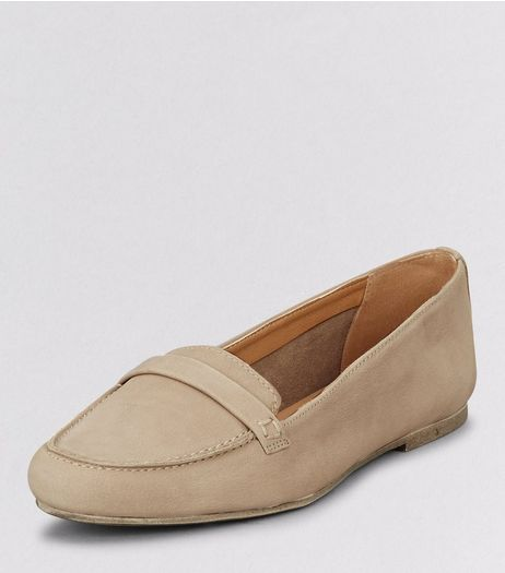 Light Grey Leather Loafers | New Look