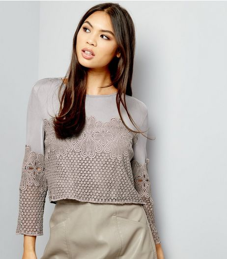 Grey Mesh Panel Lace Crop Top  | New Look