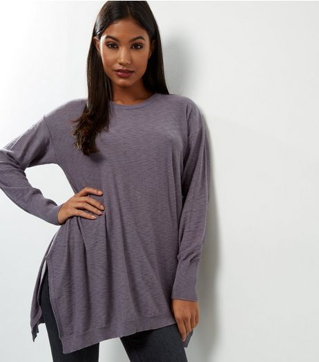 Apricot Pale Grey Split Side Jumper  | New Look