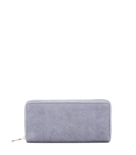 Grey Velvet Purse  | New Look
