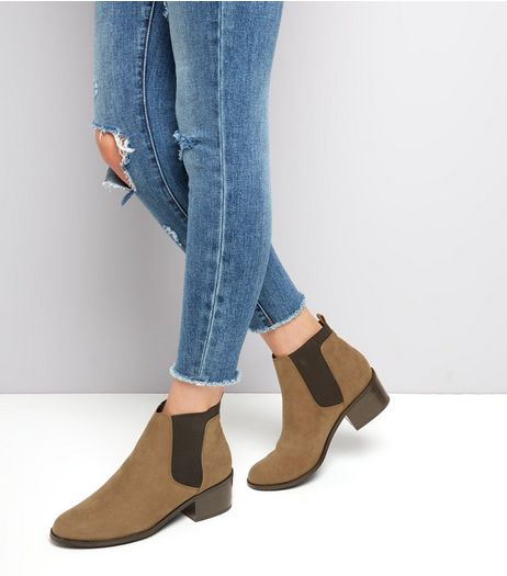 Khaki Comfort Suedette Elasticated Chelsea Boots | New Look
