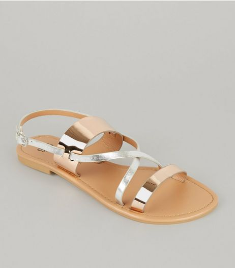 Teens Rose Gold Cross Front Sandals | New Look