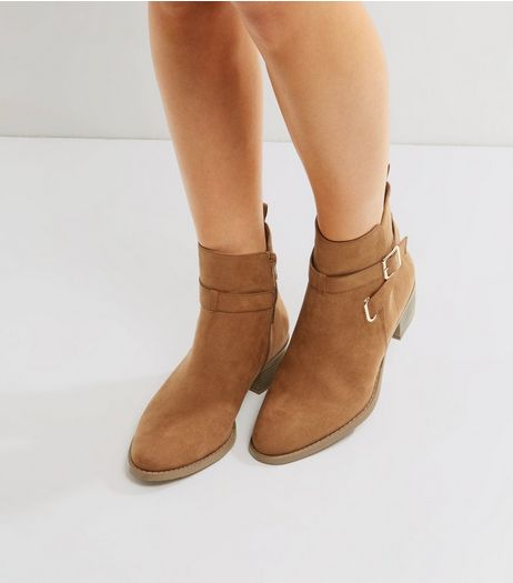 Tan Suedette Buckle Strap Ankle Boots | New Look