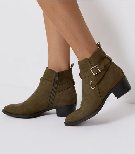 Khaki Suedette Buckle Strap Ankle Boots | New Look