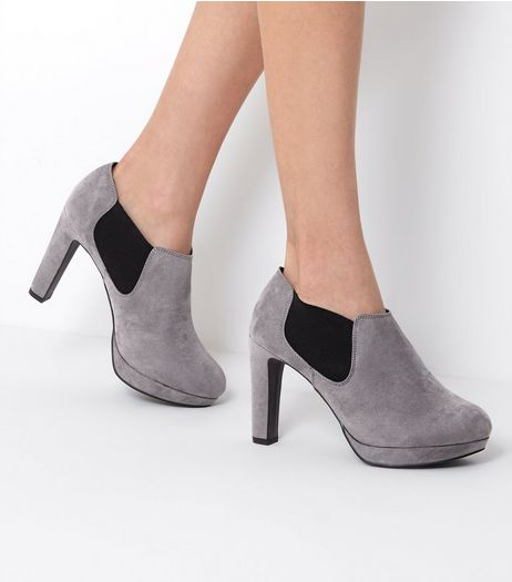 Wide Fit Grey Suedette Heeled Shoe Boots | New Look
