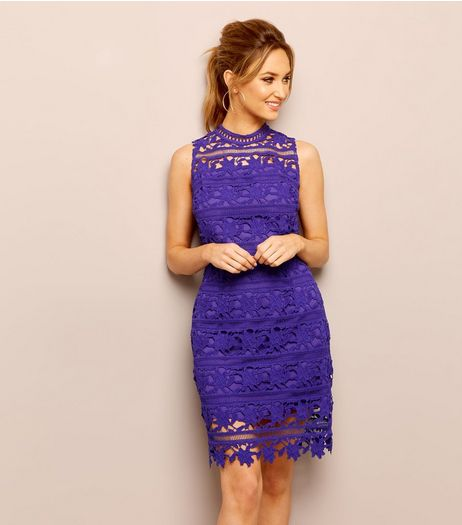 Purple Premium Lace High Neck Bodycon Dress | New Look