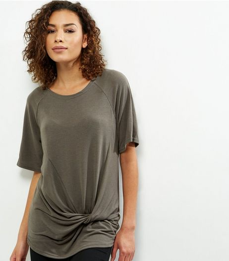 Apricot Khaki Knot Front Short Sleeve T-Shirt  | New Look