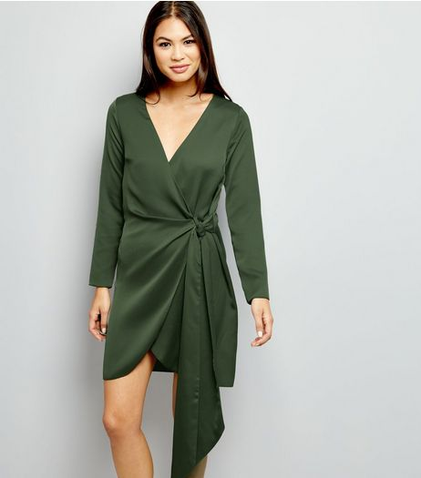 Khaki Sateen Wrap Front Long Sleeve Dress | New Look