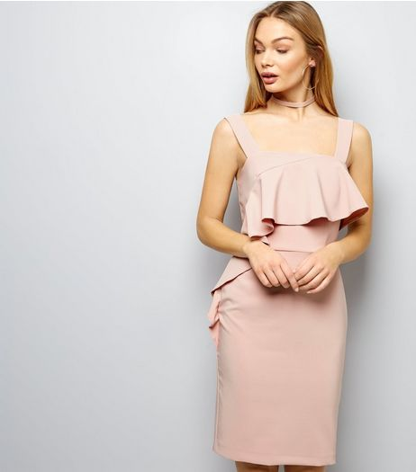 Shell Pink Frill Trim Sateen Bodycon Dress | New Look