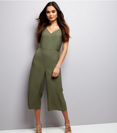 Khaki Strappy Culotte Jumpsuit  | New Look