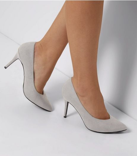Grey Comfort Suedette Pointed Court Shoes | New Look