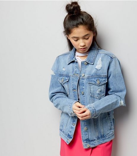 Teens Blue Ripped Oversized Denim Jacket  | New Look