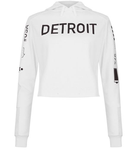 Teens White Mesh Panel Detroit Phone Print Hoodie | New Look