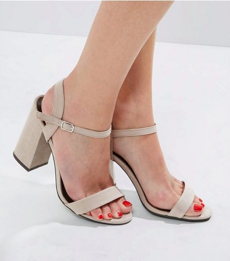 Wide Fit Grey Suedette Flared Heeled Sandals | New Look