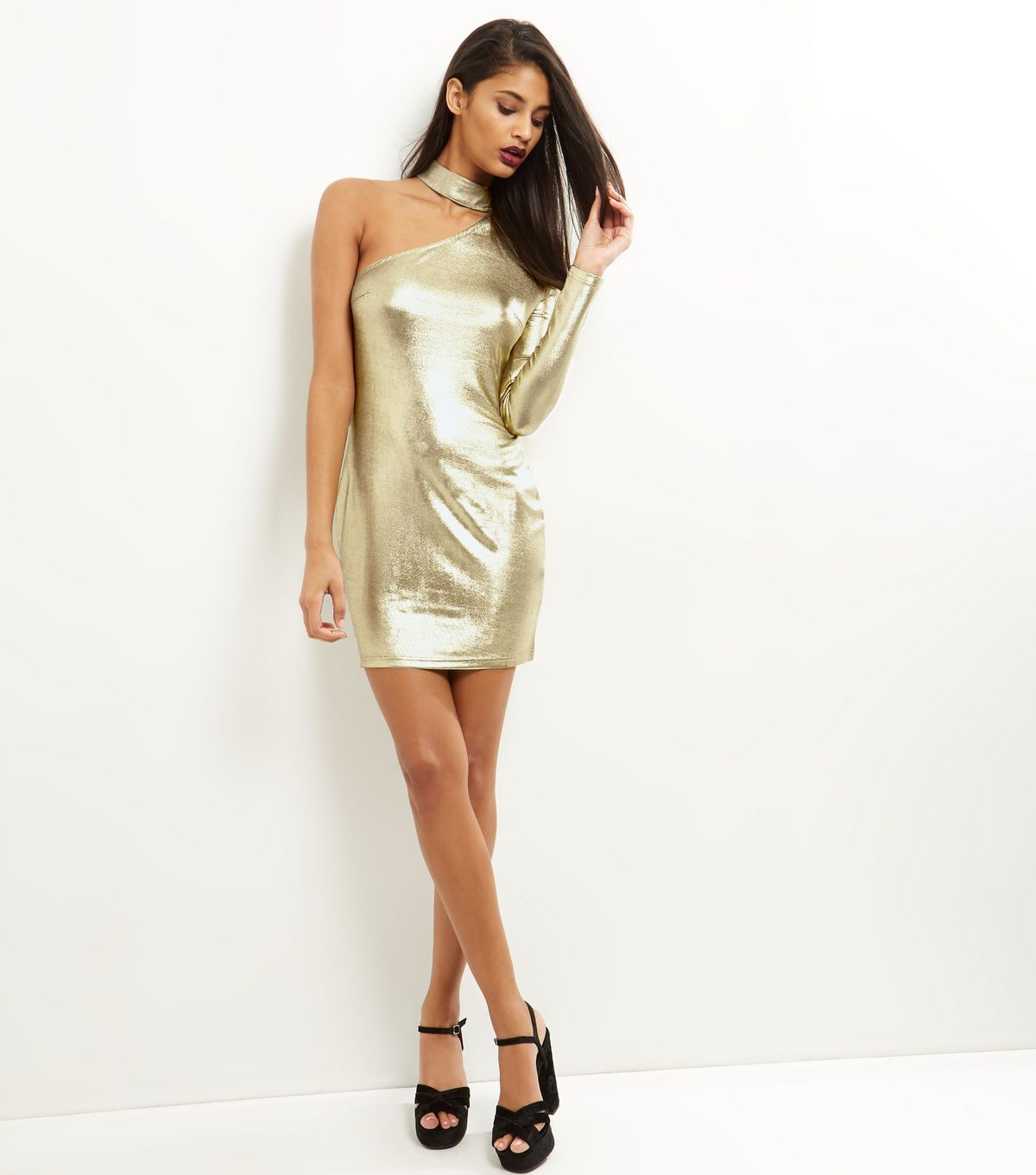 Parisian Gold Choker Neck One Shoulder Bodycon Dress | New Look