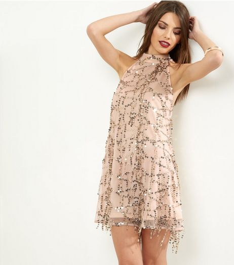 Parisian Shell Pink Sequin Flapper Bodycon Dress | New Look