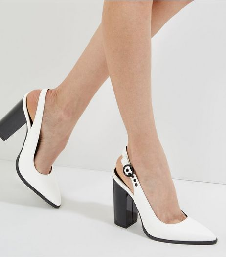 White Sling Black Pointed Block Heels | New Look