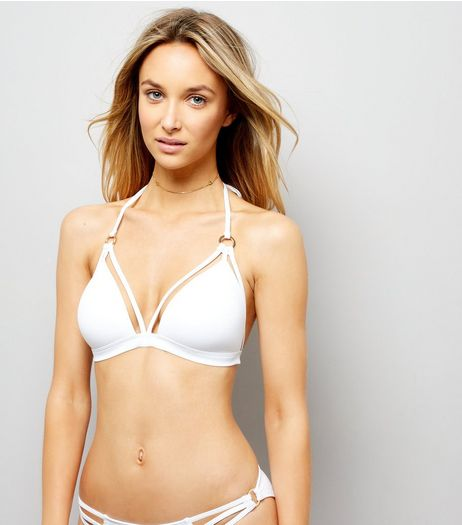 White Strappy Ring Front Plunge Bikini Top  | New Look