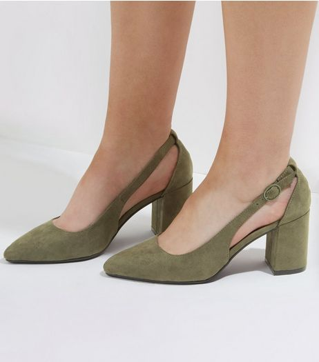 Wide Fit Khaki Suedette Pointed Cut Out Heels | New Look