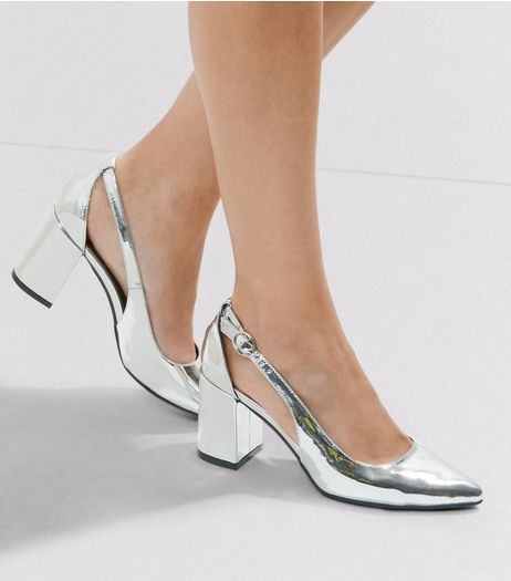 Wide Fit Silver Patent Cut Out Heeled Sandals  | New Look