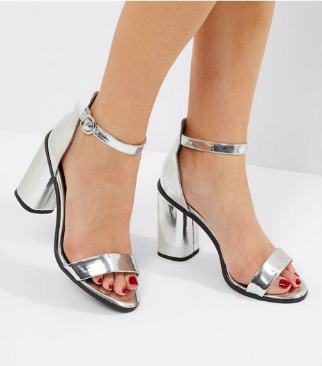 Silver Ankle Strap Block Heel Sandals | New Look