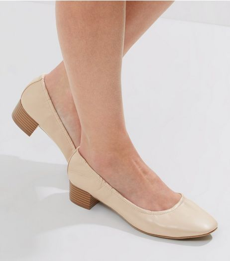 Wide Fit Cream Elasticated Mini Block Heels | New Look