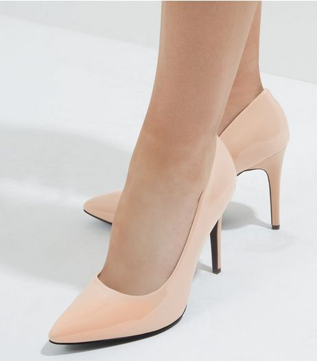 Wide Fit Pink Patent Pointed Court Shoes | New Look