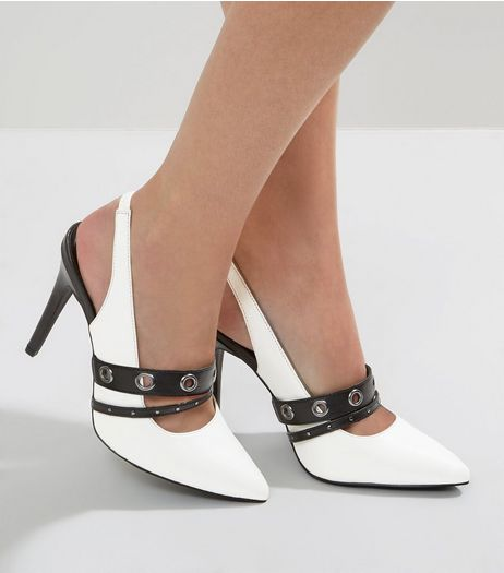 Wide Fit White Eyelet Strap Pointed Heels | New Look
