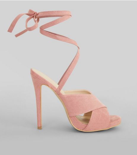 Pink Suedette Tie Up Heeled Sandals | New Look