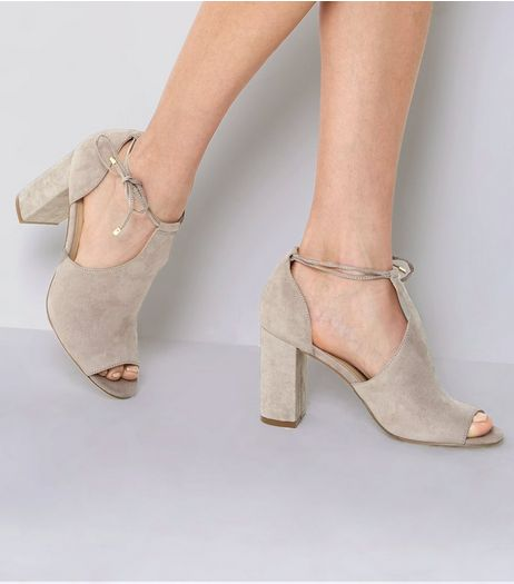 Grey Suedette Tie Up Block Heels | New Look