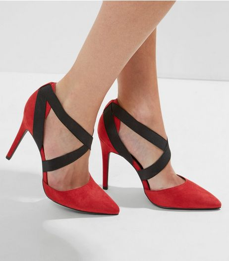 Wide Fit Red Suedette Elasticated Strap Heels | New Look
