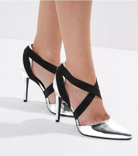 Wide Fit Silver Metallic Elasticated Strap Heeled | New Look