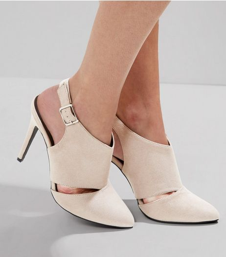 Wide Fit Grey Suedette Cut Out Side Heels | New Look