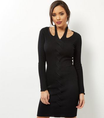 Product photo of Qed black cable knit halter neck dress