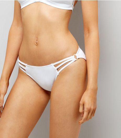 White Strappy Ring Side Bikini Bottoms  | New Look