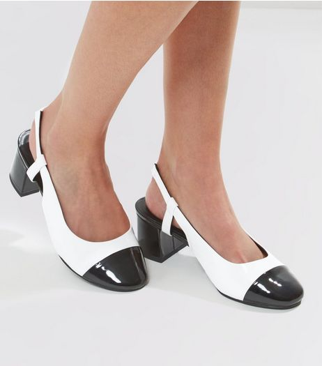 Wide Fit Patent Contrast Toe Sling Back Heels | New Look