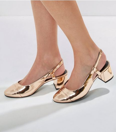 Wide Fit Rose Gold Patent Sling Back Heels | New Look