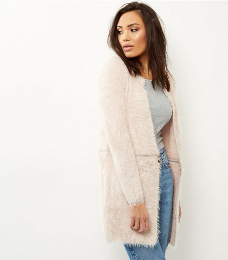 QED Pink Fluffy Zip Waist Cardigan  | New Look