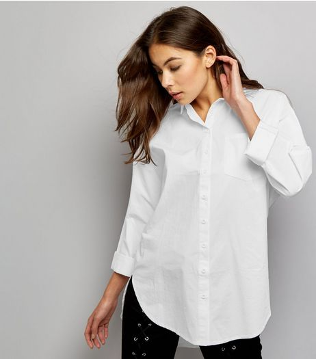 White Long Sleeve Longline Shirt  | New Look