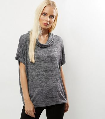 Product photo of Qed black metallic cowl neck top