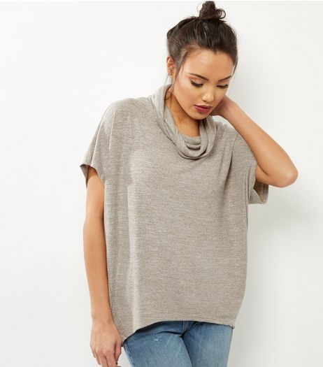 QED Cream Metallic Cowl Neck Top | New Look