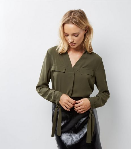 Khaki Double Pocket Tie Sleeve Shirt | New Look