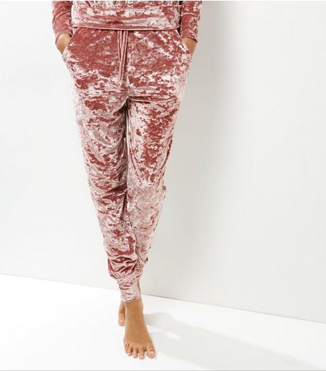Cameo Rose Shell Pink Crushed Velvet Joggers | New Look