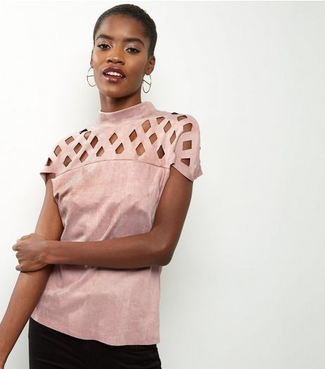 Cameo Rose Shell Pink Laser Cut Out Suedette Top | New Look