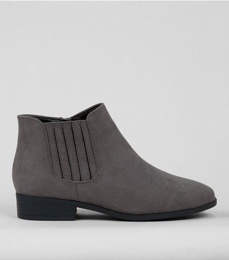 Wide Fit Grey Suedette Chelsea Boots | New Look